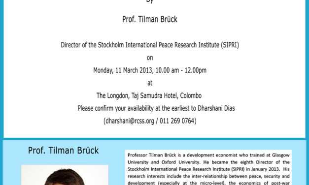 Renowned Scholar Prof. Tilman Bruck talks in Colombo
