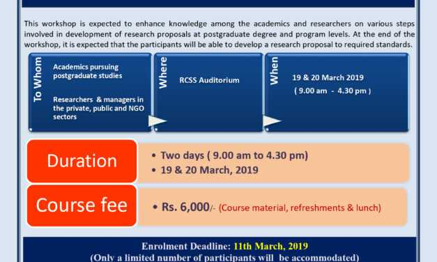 "Workshop on ""Research Proposal Development"" on 19th & 20th March, 2019 at RCSS"