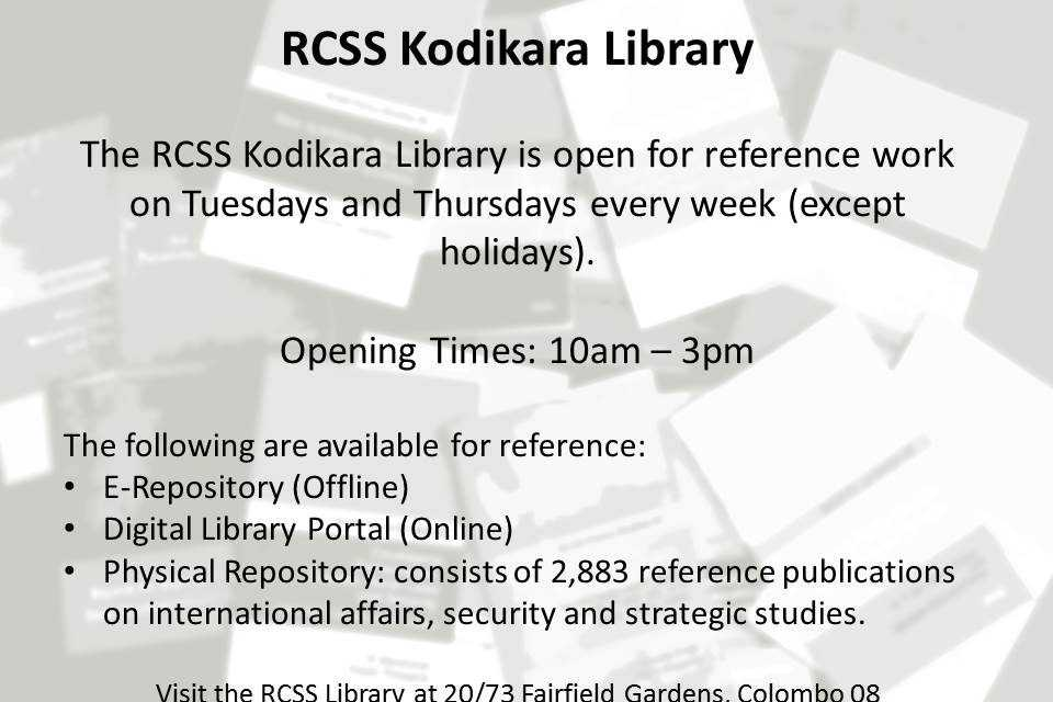 RCSS Kodikara Library Open for Reference