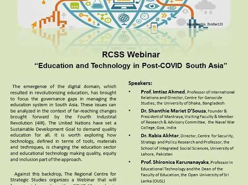 "RCSS Webinar – ""Education and Technology in Post-COVID South Asia"""