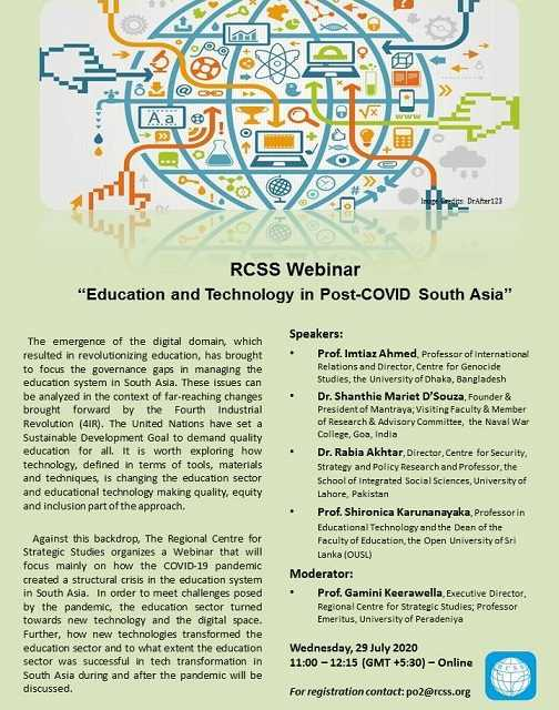 """RCSS Webinar – """"Education and Technology in Post-COVID South Asia"""""""