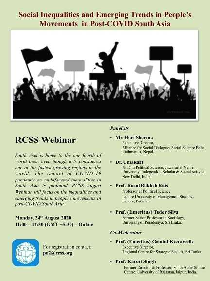 RCSS Webinar – Social Inequalities and Emerging Trends in People's Movements in Post-COVID South Asia