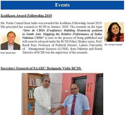 RCSS E-Newsletter 2020 – Issue 1