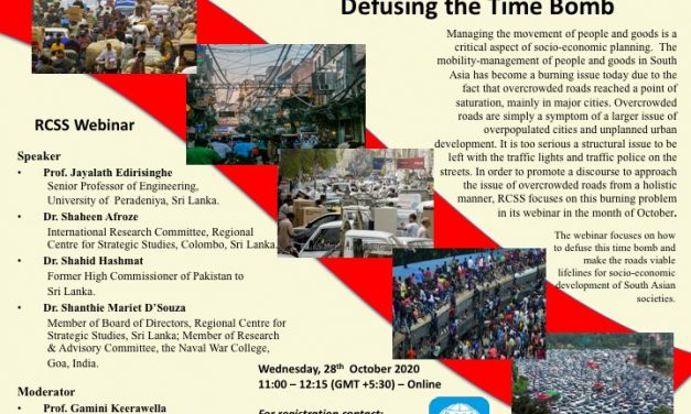 RCSS Webinar –  Overcrowded Roads in South Asia: Defusing the Time Bomb